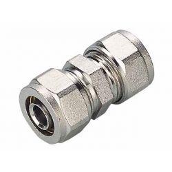Złączka skręcana Pex podwójna, ⌀ 32 mm × 32 mm, chromowana