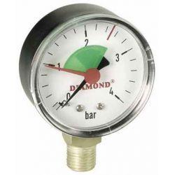 """Ciśnieniomierz, 10 barów, z gwintem ⌀ 1/4"""" i tarczą ⌀ 50 mm, z podłączeniem dolnym"""