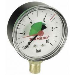 """Ciśnieniomierz, 10 barów, z gwintem ⌀ 1/4"""" i tarczą ⌀ 63 mm, z podłączeniem dolnym Wodomierze i liczniki"""
