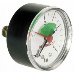 """Ciśnieniomierz, 4 bary, z gwintem ⌀ 1/4"""" i tarczą ⌀ 50 mm, z podłączeniem tylnym Wodomierze i liczniki"""
