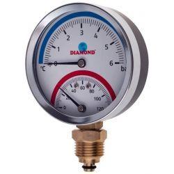 """Termometr z ciśnieniomierzem, 6 barów, z gwintem ⌀ 1/2"""", z podłączeniem dolnym Wodomierze i liczniki"""