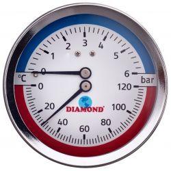 """Termometr z ciśnieniomierzem, 6 barów, z gwintem ⌀ 1/2"""", z podłączeniem tylnym Wodomierze i liczniki"""