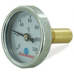 """Termometr, 120°C, z gwintem ⌀ 1/4"""" i tarczą ⌀ 40 mm, z podłączeniem tylnym Wodomierze i liczniki"""
