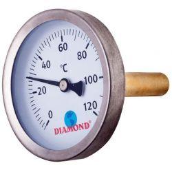 """Termometr, 120°C, z gwintem ⌀ 1/4"""" i tarczą ⌀ 63 mm, z podłączeniem tylnym Rury i kształtki"""