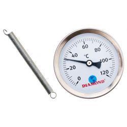"""Termometr, 120°C, z gwintem ⌀ 1/4"""" i tarczą ⌀ 63 mm, na sprężynie Wodomierze i liczniki"""
