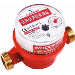 """Wodomierz antymagnetyczny do wody ciepłej, z gwintem ⌀ 1/2"""", z przepustowością 2,5 m³/h Wodomierze i liczniki"""