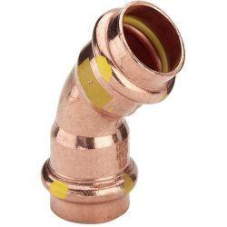 Łuk miedziany zaciskany do gazu, ⌀ 22 mm, 45°