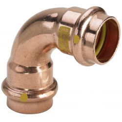 Łuk miedziany zaciskany do gazu, ⌀ 28 mm, 90° Rury i kształtki