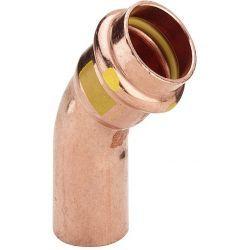 Łuk miedziany zaciskany do gazu, nyplowy, ⌀ 18 mm, 45° Zawory