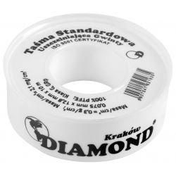 Taśma teflonowa standardowa do uszczelniania gwintów, 10 m × 12 mm × 0,075 mm (2,25 mg/cm²) Rury i kształtki