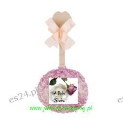 Jabłko w karmelu, białej czekoladzie z cukierkową posypka fioletową- ślub