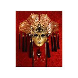 Maska wenecka zdobiona kryształkami - model Nefretete Złota