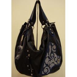 czarna torebka ze skóry ekologicznej z dżinsowymi wstawkami