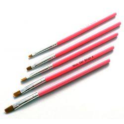 PĘDZELKI DO ZDOBIEŃ 5szt żel akryl farbki akrylowe