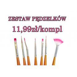 -50% PĘDZELKI DO ZDOBIEŃ żel akryl farbki  7szt