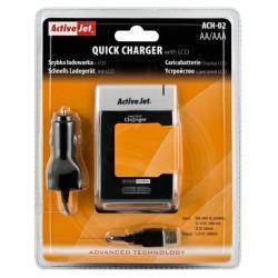 ACH-02 Szybka ładowarka akumulatorów AA/AAA z LCD (USB,12V,230V)