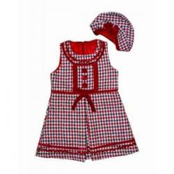 urocza sukienka pepitka z berecikiem rozmiar 116