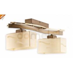 Plafon Lemir Rega 2 x E27 mosiądz + złoty perłowy