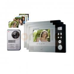Zestaw wideodomofonowy 3-rodzinny kolorowy Hyundai HAC-307NMx3/HCC-703