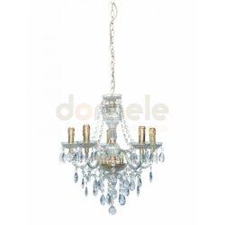 Lampa wisząca Reality Maria Teresa 5 x E14 mosiądz, przezroczysty 103805-03