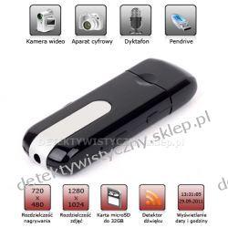 Pendrive z mini kamerą szpiegowską + Aparat + Dyktafon + Detektor ruchu
