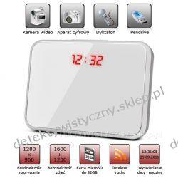 Zegar, budzik, termometr z kamerą szpiegowską HD + Aparat + Dyktafon + Detektor Ruchu