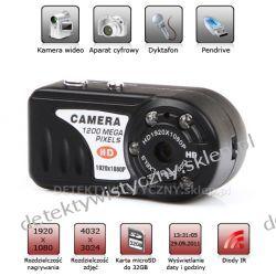 Mini aparat z kamerą Full HD + Dyktafon + Diody IR i Praca pod stałym zasilaniem