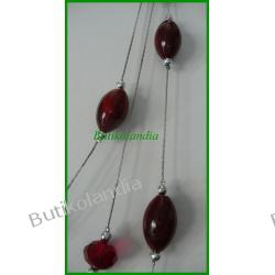 naszyjnik czerwone kamienie