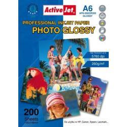 AP6-260GR200 Activejet Papier fotograficzny błyszczący żywicą powlekany A6 200szt 260g