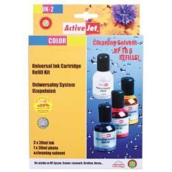 ActiveJet UK-2 kolorowy, uniwersalny system uzupełnień 3x30 ml + płyn do czyszczenia głowicy 1x30 ml