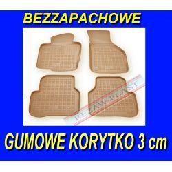 BMW X3 F25 2010- BEŻOWE DYWANIKI GUMOWE korytko 3 cm