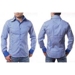 Koszula paski niebiesko białe potrójny kołnierz