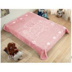 Kocyk pluszowy tłoczony 80 x 110 cm różowy Bobas