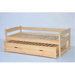 Łóżko dwuosobowe wysuwane niskie z tapczanem-80