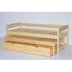 Łóżko dwuosobowe wysuwane wysokie z szufladami-80