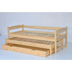 Łóżko dwuosobowe wysuwane niskie z szufladą-80