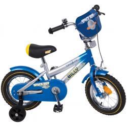 """Rower Accent BILLY 12"""" srebrno-niebiesko-żółty"""
