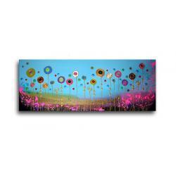 """obrazy nowoczesne """"łąka""""  ręcznie malowane w technice strukturalnej na podkładach 3D 60x150cm Akryl"""