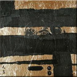 Obraz do salonu ręcznie malowany złoto i czerń Akryl