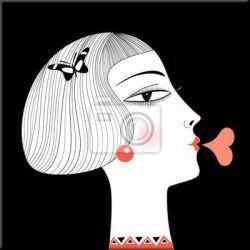 obraz nowoczesny na płótnie przedstawiający tajemniczą i zarazem zabawną kobietę Obrazki i obrazy