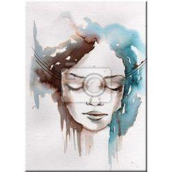 subtelny obraz przedstawiający kobietę w akwareli
