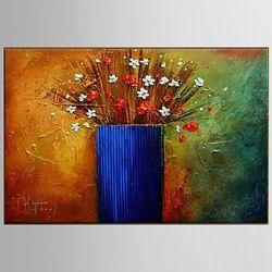 Obrazy ręcznie malowane z grubą fakturą z kwiatkami