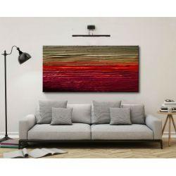MALARSTWO ABSTRAKCYJNE obraz panoramiczny 120x60cm boki 4cm Obrazki i obrazy