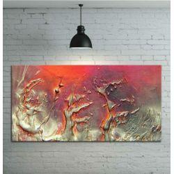 Obraz ręcznie malowany - grube złote faktury przeplatane z fioletem i różem 120x60 Akryl