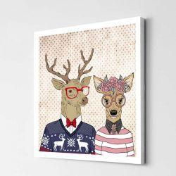 Hipsterskie Jelenie. Obraz z jelonkami. Zakochane jelenie. Obrazy z jeleniami. Jelenie na obrazie. Obrazki i obrazy