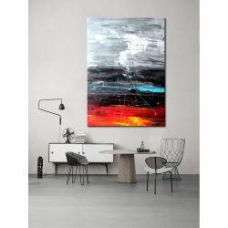 obrazy do salonu - ręcznie malowane - czerwony, biały, czarny, niebieski