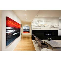 Duże obrazy do restauracji, apartamentów, loftów, salonu z antresolą - czerń i czerwień Akryl