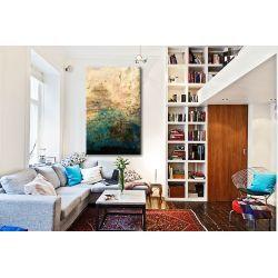 turkus i złoto - obraz abstrakcyjny grubo fakturowany 100x180cm Antyki i Sztuka