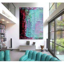 Duże obrazy ręcznie malowane - turkusowa abstrakcja
