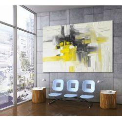 Duży obraz w kolorach żółtym i szarym 140x90 zamówienie indywidualne z dedykacja Obrazki i obrazy